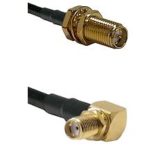 SMA Reverse Polarity Female Bulkhead Connector On LMR-240UF UltraFlex To SMA Right Angle Female Bulk