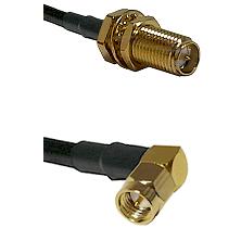 SMA Reverse Polarity Female Bulkhead on LMR240 Ultra Flex to SMA Right Angle Male Coaxial Cable Asse