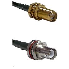 SMA Reverse Polarity Female Bulkhead Connector On LMR-240UF UltraFlex To SHV Bulkhead Jack Connector