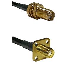 SMA Reverse Polarity Female Bulkhead Connector On LMR-240UF UltraFlex To SMA 4 Hole Female Connector