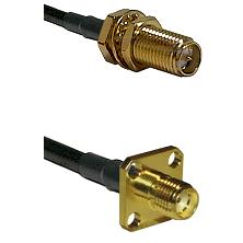 SMA Reverse Polarity Female Bulkhead on LMR240 Ultra Flex to SMA 4 Hole Female Coaxial Cable Assembl