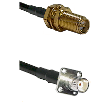 SMA Reverse Polarity Female Bulkhead on RG142 to BNC 4 Hole Female Cable Assembly