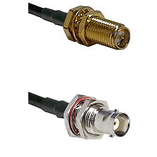 SMA Reverse Polarity Female Bulkhead on RG142 to BNC Female Bulkhead Cable Assembly