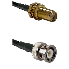 SMA Reverse Polarity Female Bulkhead on RG142 to BNC Male Cable Assembly