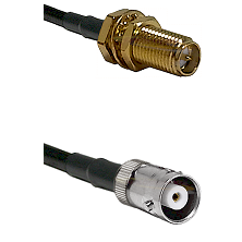 SMA Reverse Polarity Female Bulkhead on RG142 to MHV Female Cable Assembly