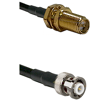 SMA Reverse Polarity Female Bulkhead on RG142 to MHV Male Cable Assembly