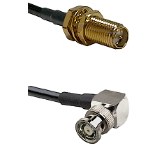 SMA Reverse Polarity Female Bulkhead on RG142 to BNC Reverse Polarity Right Angle Male Coaxial Cable