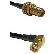 SMA Reverse Polarity Female Bulkhead on RG142 to SMA Reverse Polarity Right Angle Male Coaxial Cable