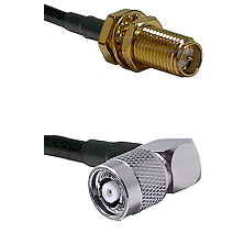 SMA Reverse Polarity Female Bulkhead on RG142 to TNC Reverse Polarity Right Angle Male Coaxial Cable