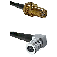 SMA Reverse Polarity Female Bulkhead on RG142 to QMA Right Angle Male Cable Assembly