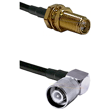 SMA Reverse Polarity Female Bulkhead on RG142 to SC Right Angle Male Cable Assembly