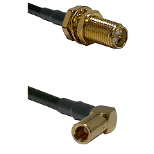 SMA Reverse Polarity Female Bulkhead on RG142 to SLB Right Angle Female Cable Assembly