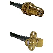 SMA Reverse Polarity Female Bulkhead on RG142 to SMA 2 Hole Right Angle Female Coaxial Cable Assembl