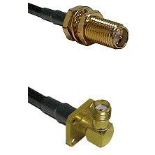 SMA Reverse Polarity Female Bulkhead on RG142 to SMA 4 Hole Right Angle Female Coaxial Cable Assembl