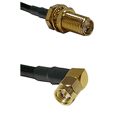 SMA Reverse Polarity Female Bulkhead on RG142 to SMA Right Angle Male Cable Assembly