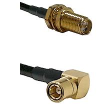SMA Reverse Polarity Female Bulkhead on RG142 to SMB Right Angle Female Cable Assembly