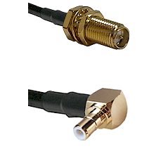 SMA Reverse Polarity Female Bulkhead on RG142 to SMB Right Angle Male Cable Assembly