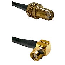 SMA Reverse Polarity Female Bulkhead on RG142 to SMC Right Angle Female Cable Assembly