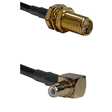 SMA Reverse Polarity Female Bulkhead on RG142 to SMC Right Angle Male Cable Assembly