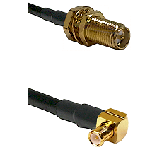 SMA Reverse Polarity Female Bulkhead on RG174 to MCX Right Angle Male Cable Assembly