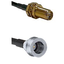 SMA Reverse Polarity Female Bulkhead on RG400 to QN Male Cable Assembly