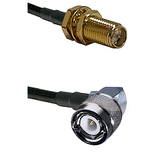 SMA Reverse Polarity Female Bulkhead on RG400 to C Right Angle Male Cable Assembly