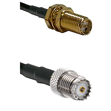 SMA Reverse Polarity Female Bulkhead on RG58 to Mini-UHF Female Cable Assembly