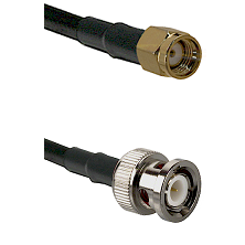 SMA Reverse Polarity Male on LMR100 to BNC Male Cable Assembly