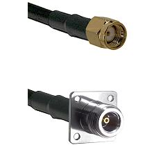 SMA Reverse Polarity Male on LMR100 to N 4 Hole Female Cable Assembly