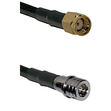 SMA Reverse Polarity Male on LMR100 to QMA Male Cable Assembly