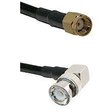 Reverse Polarity SMA Male To Right Angle BNC Male Connectors LMR-195-UF UltraFlex Custom Coax