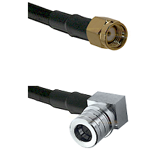 SMA Reverse Polarity Male on LMR-195-UF UltraFlex to QMA Right Angle Male Cable Assembly