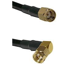 Reverse Polarity SMA Male To Right Angle SMA Male Connectors LMR-195-UF UltraFlex Custom Coax