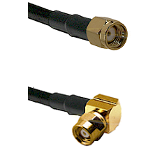 SMA Reverse Polarity Male on LMR-195-UF UltraFlex to SMC Right Angle Female Cable Assembly