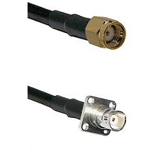 SMA Reverse Polarity Male on LMR200 UltraFlex to BNC 4 Hole Female Cable Assembly