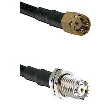 SMA Reverse Polarity Male Connector On LMR-240UF UltraFlex To Mini-UHF Female Bulkhead Connector Coa