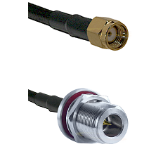 SMA Reverse Polarity Male on LMR240 Ultra Flex to N Reverse Polarity Female Bulkhead Coaxial Cable A