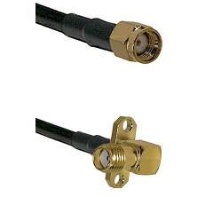 SMA Reverse Polarity Male on LMR240 Ultra Flex to SMA 2 Hole Right Angle Female Coaxial Cable Assemb