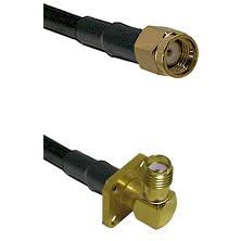 SMA Reverse Polarity Male on LMR240 Ultra Flex to SMA 4 Hole Right Angle Female Coaxial Cable Assemb
