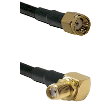 SMA Reverse Polarity Male on LMR240 Ultra Flex to SMA Right Angle Female Bulkhead Coaxial Cable Asse