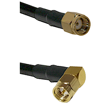 Reverse Polarity SMA Male To Right Angle SMA Male Connectors LMR240UF Ultra Flex Custom Coaxia