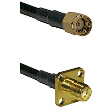 SMA Reverse Polarity Male on LMR240 Ultra Flex to SMA 4 Hole Female Cable Assembly
