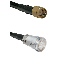 SMA Reverse Polarity Male on RG142 to 7/16 Din Female Cable Assembly