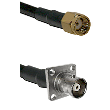 SMA Reverse Polarity Male on RG142 to C 4 Hole Female Cable Assembly