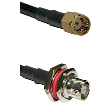 SMA Reverse Polarity Male on RG142 to C Female Bulkhead Cable Assembly