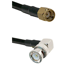 SMA Reverse Polarity Male on RG188 to BNC Right Angle Male Cable Assembly