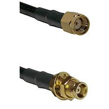 SMA Reverse Polarity Male on RG58C/U to MCX Female Bulkhead Cable Assembly