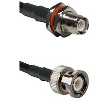 TNC Reverse Polarity Female Bulkhead on LMR100 to BNC Male Cable Assembly