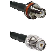 TNC Reverse Polarity Female Bulkhead on LMR100 to Mini-UHF Female Cable Assembly