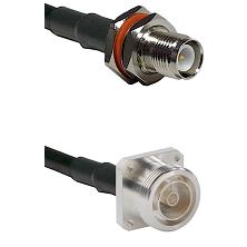 TNC Reverse Polarity Female Bulkhead on LMR-195-UF UltraFlex to 7/16 4 Hole Female Coaxial Cable Ass